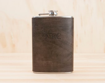 Monogram Flask - Leather in Antique Black - Custom Flask in 8oz Size