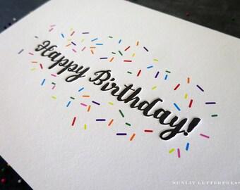 Birthday Card, Kid Birthday, Child Birthday, Cute Card, Birthday Cake Card, Card for Friend for Wife for Child, Letterpress Card, Fun Card