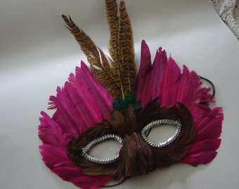 Vintage Mardi Gras Mask in Pink with Brown Pheasant feathers