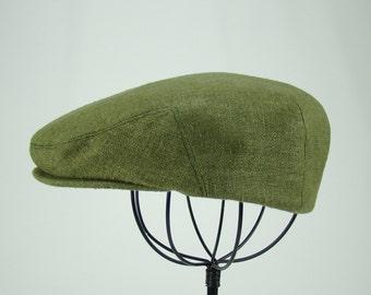 Custom Jeff Cap Handmade Flat Cap Driving Cap for Men in Moss Green Silk Matka - Raw Silk