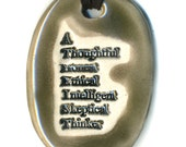Atheist Ceramic Necklace in Gray
