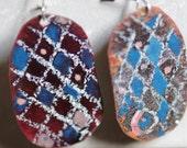 Chequered Enamel Earrings  OOAK