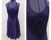 Vintage 90s purple embroidered halter dress ~ bohemian ~ hippie ~ festival