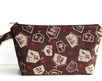 Wedge Bag, Shawl Project Size Knitting Bag, Imported Japanese fabric, brown