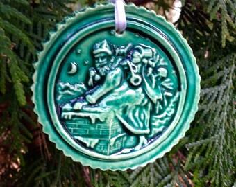 Santa Sneaking Down the Chimney Ornament Green