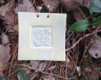 Green Celtic Knot Ceramic Tile