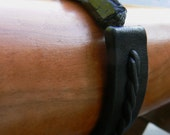 Payment 2 - Custom Black Tourmaline Stone Leather Bracelet w/ Stair Step Braid and Magnetic Clasp