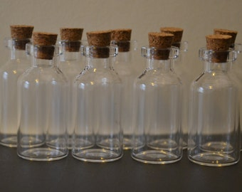 10 3ml cork topped vial bottles small storage 18mm x 40mm