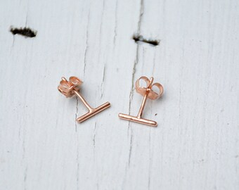 Rose Gold Earrings - Rose Gold Bar Earrings - Tiny Earrings - 14 karat Rose Gold Earrings - Minimalistic Bar Earrings - Solid Rose Gold 3057