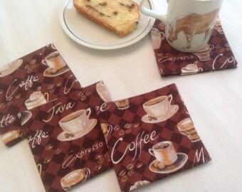 Coffee Latte Cappuccino Eco Friendly Cotton Beverage Napkins Coffee Napkins Beverage Napkins - set of 6