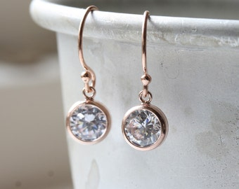 Rose gold drop earrings with clear cubic zirconia stones - rose gold cz earrings