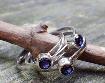 20% OFF TODAY - Sapphire Ring ... September Birthstone Ring ... 4mm sapphire sterling silver stacking ring gemstone ring