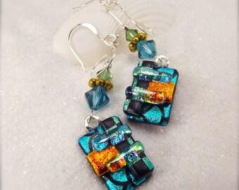 Trending now, dichroic glass earrings, fused glass jewelry, Hana Sakura Designs, turquoise jewelry, handmade glass fusion, dichroic, trendy