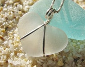 White Heart-Shaped Sea Glass Necklace