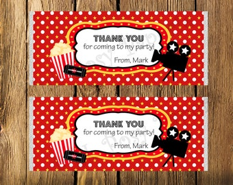 Printable Personalized Movie Night Birthday Large Candy Bar Wrappers