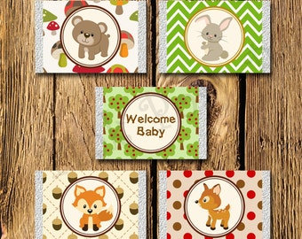 Printable Woodland Animals Baby Shower Mini Candy Bar Wrappers - Instant Download