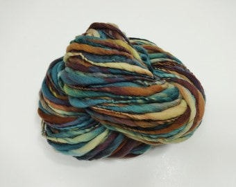 Handspun Yarn Bulky Thick and Thin Merino Wool 98 yards teal blue aqua gold brown burgundy
