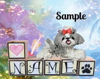 blue / grey and white Shih Tzu dog PERSONALIZED with your dog's name on blocks by Sally's Bits of Clay