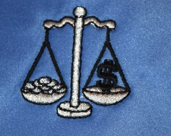 Attorney's Tie Embroidered with the Scales of Justice Periwinkle Blue - Ready to Ship