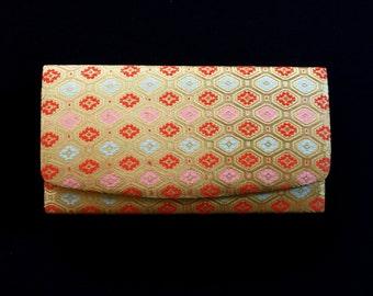 Vintage Japanese Kimono Clutch - Japanese Clutch - Bridal Clutch - Vintage Bag - Bridal Bag - Gold Clutch - Pink Red Blue
