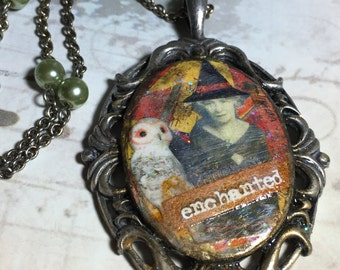 Enchanted , Witch Collage Pendant, Necklace, Handmade by bostoncharm, Halloween Jewelry , Prim