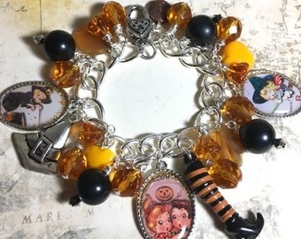 Vintage postcard Halloween charm Bracelet ONE of a KIND altered art handmade  women's bracelet