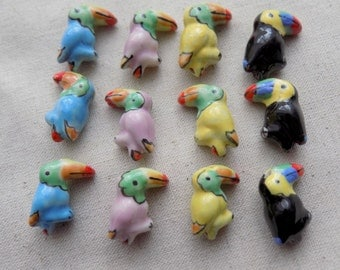 12 Porcelain Toucan Beads Assorted Colours