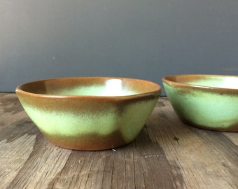 Prairie Green Frankoma Bowls - Set of 2 - 5XL - 1950s Bowls
