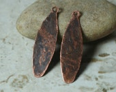 Hand hammered antique copper drop dangle size 35x10mm, 2 pcs (item ID YWXW00537ACD)