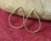 Solid brass teardrop link drop dangle size 16x11mm, 16 pcs (item ID YSH2047RB)