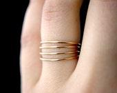 Smooth Gold stacking rings, set of 4, Medium Thickness, gold fill stacking rings, delicate gold stack ring, smooth gold ring, thin ring
