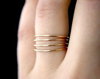Smooth Gold stacking rings, set of 4, Medium Thickness, gold fill stacking rings, delicate gold stack ring, smooth gold ring, thin ring