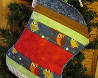 Baby Boy Christmas Stocking - Toddler Stocking - Owl Theme Christmas Stocking - Cotton - Minky - Blue Stocking - Quilted Stocking - Wide -