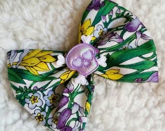 Iridescent Lolita Skull Floral Spring Hair Bow