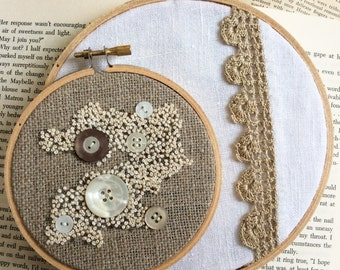 French Knots & Tea Towels Hoop Art