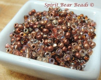 Copper Kettle Mix size 6 Czech seed bead Mix 50 grams pots and pans copper cookware