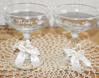 Vintage wedding bride  groom champagne glasses