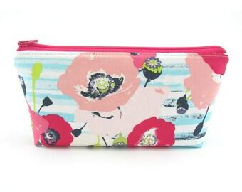 Light Blue Stripe Flower Cosmetic Bag, Zip Pouch, Makeup Bag, Pencil Case, Zipper Bag