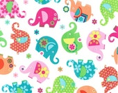 Michael Miller Elephant Romp fabric  by the yard   CX5979-PINK-D