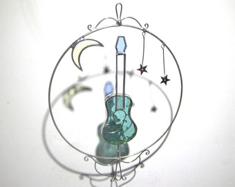 Head Space - 3D Stained Glass Nature Spinner - Spinning Guitar Moon Stars Wire Home Garden Decor Yard Art Suncatcher (READY TO SHIP)