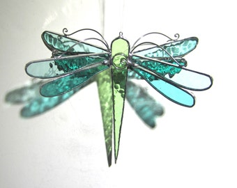 Wintergreen Wings - 3D Stained Glass Dragonfly Twirl - Medium Home Garden Decor Hanging Suncatcher 3 Dimensional Yard Art (READY TO SHIP)