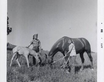 vintage photo 1959 Girls w Horse Foal in Field Snapshot photo