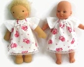 Doll Clothes, Pink and white dress, 8 to 9 inch doll's old fashioned roses dress