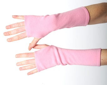 Long pink armwarmers, Pink fingerless gloves, Stretchy fingerless gloves from thick pink vintage jersey