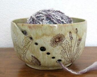 Yarn Bowl - Knitting Organizer - Dandelions - Hand Thrown Ceramic Stoneware Pottery