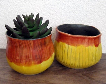Set of 2 Ceramic Planters - Succulent Planters - Hand Thrown Pottery - Ready to Ship