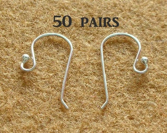 925 Sterling Silver Earring Hooks - EARWIRES WITH BALLS 21 Gauge  - 50 Pairs(100 pieces)