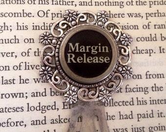 Typewriter key bookmark / margin release key / silvertone /
