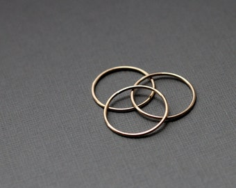 Thin Gold Fill Stacking or Midi Rings - 3 - 14k gold filled - textured and smooth
