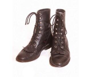 Vintage 1980s Black Leather Fringe Cowtown Lace Up Biker Boots size 5D